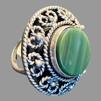 Taxco Mexico Sterling Silver Ring Green Stone Heart Motif