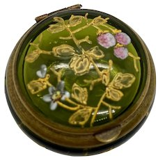 Antique Glass Box Patch Snuff Pill Gilt Moser Type Enamelled Strawberry