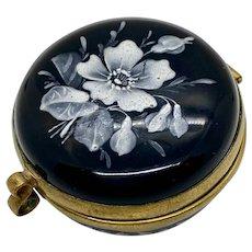 Amethyst Glass Box Patch Snuff Pill Moser Trinket Bohemian Enamelled