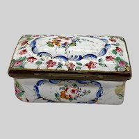Antique Snuff Box Bilston Battersea Patch Pill Enamel Copper