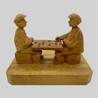 Luciene Bourgault  Folk Art Carving Wood Sculpture Figurine Statue