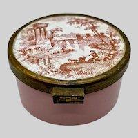 Enamel Snuff Box Pill Patch Pink Transfer Printed