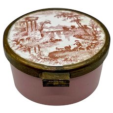 Enamel Snuff Box Pill Patch Pink Transfer Printed