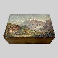 Hand Painted Wood Box Mountain Landscape Art Souvenir Snuff