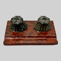 French Art Deco Red Marble Double Inkwell Desk Pen Inkstand