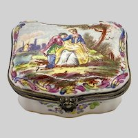 1767 French Faience Snuff Box Lille Enamelled Porcelain