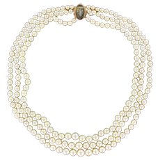 French Three-Strand Japanese Cultured Round White Pearl Necklace 18 Karats gold rose clasp