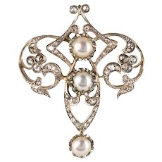 Antique Diamond and Cultured Pearl Brooch 18 Karats Yellow Gold and 925 Silver