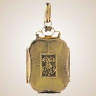 19th Century 18 Karats Yellow Gold rectangular medallion