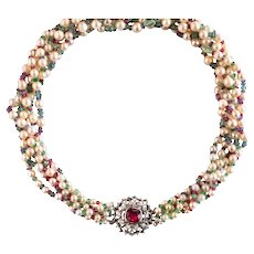 White Oriental Cultured Pearls Emerald Sapphire Ruby Spinel Necklace