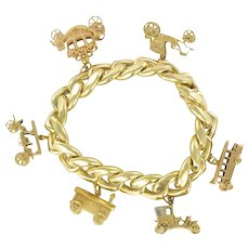 1960s Vehicle Charm 18K Yellow Gold Bracelet