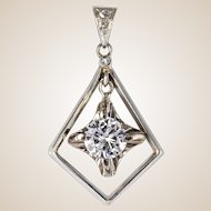 1920s Diamond Lozenge Pendant 18 Karats white gold
