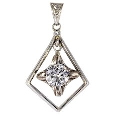 1920s Diamond Lozenge Pendant 18 Karats white gold