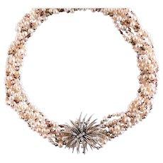 Unique Combination Cultured Pearl Necklace and 1960s Diamond Brooch Clip