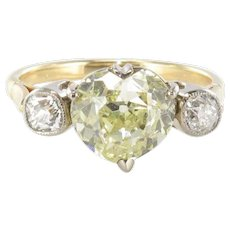 Fancy Yellow Heart Cut Diamond 18 Karat Yellow Gold Ring