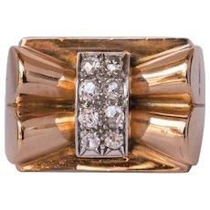 French Diamond 18 Karat Yellow Gold Bow Tank Ring