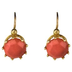 19th Century Coral 18 Karats Rose Gold Drop Earrings