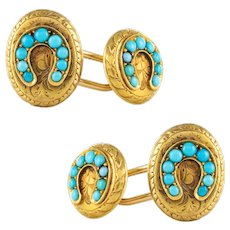 Antique Turquoise 18 Karats Yellow Gold Cufflinks