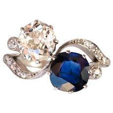 1920s French Sapphire Diamond 18 Karats White Gold Toi et Moi Ring