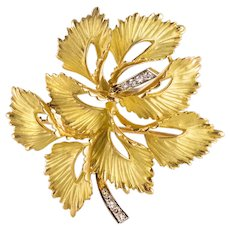 1970s French Leaf Brooch in 18 Karats Matt Yellow Gold and Diamonds