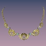 1900s French Opal 18 Karats Yellow Gold Drapery Necklace