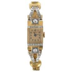 1940s 18 Karats Yellow Gold and Diamond Omega Watch