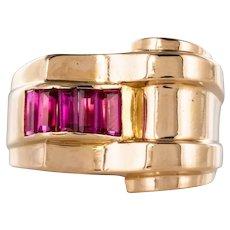 Original French 1940s Ruby Tank 18K Gold Ring