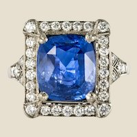 Art Deco Style French 5 Carat Ceylon Sapphire Diamond 18 Karat White Gold Ring