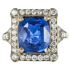 Art Deco Style French 5 Carat Ceylon Sapphire Diamond 18 Karat White Gold Ring