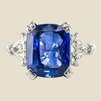 6.27 Carat Cushion Sapphire Trillion Cut Diamond Gold Ring