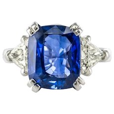 6.27 Carat Cushion Sapphire Trillion Cut Diamond Gold Ring