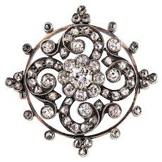 Antique Diamond Silver 18 Karats Rose Gold Brooch