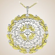 French Rose Cut Diamond 18 Karats Yellow Gold Platinum Pendant