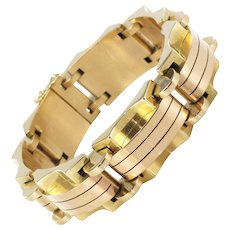 1940s French Two Color 18 Karats Rose and Yellow Gold Tank Bracelet