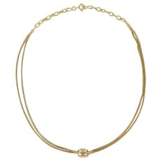 French Napoleon 3 Yellow and Rose Gold Pendant Chain Necklace