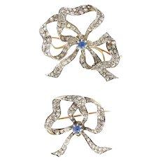 Pair of Antique Sapphire Diamond Brooches 18 Karats Yellow and Pink Gold