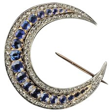 French Antique Crescent Moon Sapphire Diamond Brooch 18 Karats Rose Gold And Silver