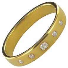 French Antique Diamond 18 Karats Yellow Gold Bangle Bracelet
