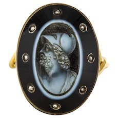 Empire Onyx Cameo and Rose Cut Diamond Ring 18 Karats Yellow Gold