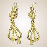 French 19th Century Emerald 18 Karats Yellow Gold Drop Dangle Earrings