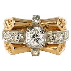 1960s French Diamond 18 Karats Yellow Gold Ring and platinium