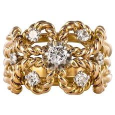 1960s Diamond 18 Karats Yellow Gold Cords Ring