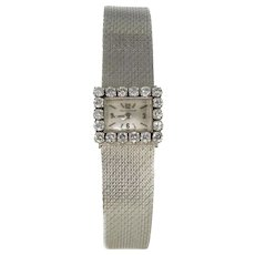 Jaeger LeCoultre Ladies 18 Karats White Gold Diamond Manual Wind Wristwatch