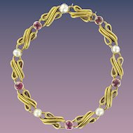 Splendid Antique Fine Pearl Ruby 18 Karats Yellow Gold Row Bracelet