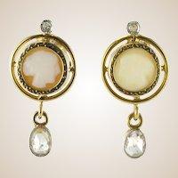 French Napoleon III Cameo and Diamond Earrings 18 Karats Yellow Gold