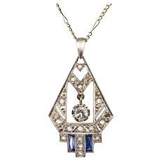 1925s French Art Deco Diamond Pendant 18 Karats White Gold