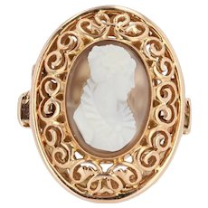 Early 20th French Antique 18 Karats Rose Gold Cameo Ring