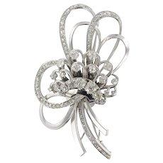 Diamond 18 Karats White Gold Flower Bouquet Brooch