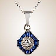 Art Deco Calibrated Gems and Diamond Pendant 18 Karats White Gold