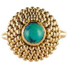 1960s Turquoise 18 Karat Rose Gold Pyramide Ring